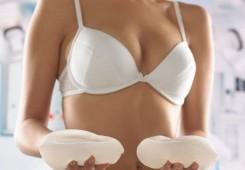 Runda bröstimlantat texturerad yta